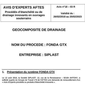 Avis n°18–03R - Validité du : 26/02/2018 au 25/02/2023