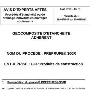 Avis n°18–05R - Validité du : 26/02/2018 au 25/02/2023