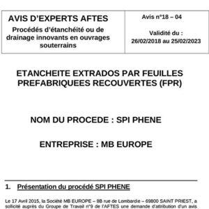 Avis n°18–04 - Validité du : 26/02/2018 au 25/02/2023