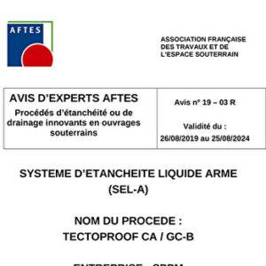 Avis n°19–03 R - Validité du : 26/08/2019 au 25/08/2024