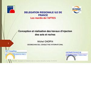La recommandation de l'AFTES GT8 - Conception et réalisation des travaux d'injections des sols et des roches - Michel CHOPIN