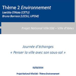 L'approche environnementale - Point sur les recherches
