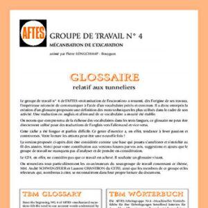 Glossaire français anglais allemand relatif aux tunneliers