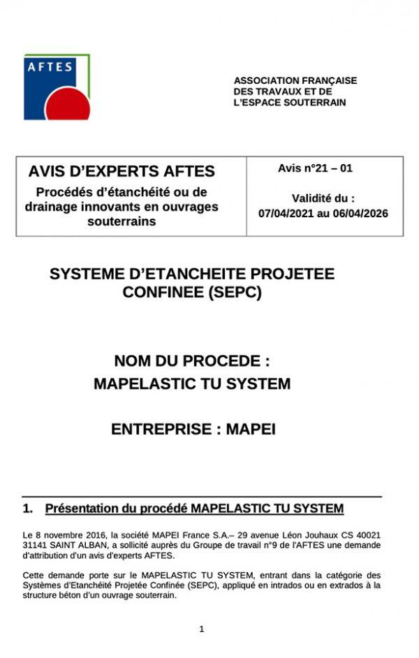 Avis d'experts AFTES GT9 - Avis n°21–01