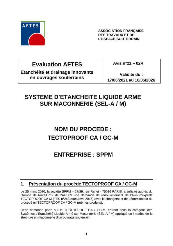 Avis n°21–02R – Validité du : 17/06/2021 au 16/08/2026 - AFTES