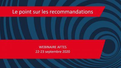 Webinaire AFTES – Le point sur les recommandations